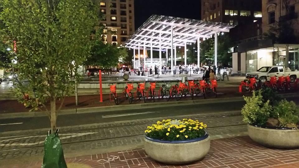 Portland Bike Share at Night