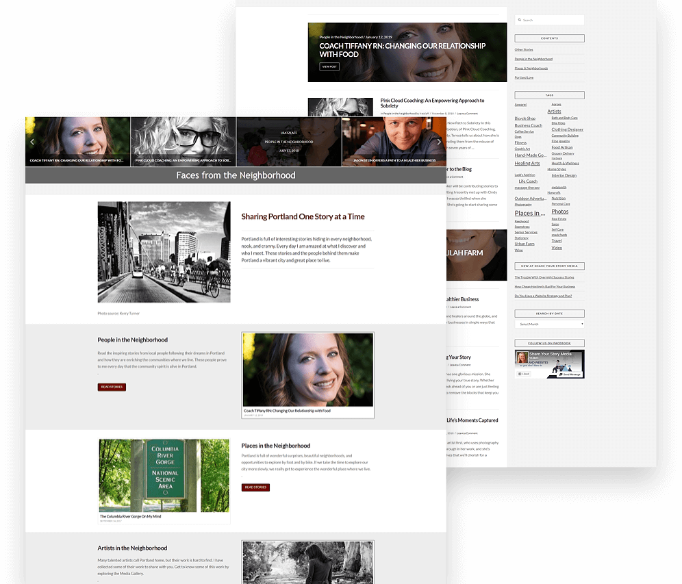 Faces From The Neighborhood Website Mockup