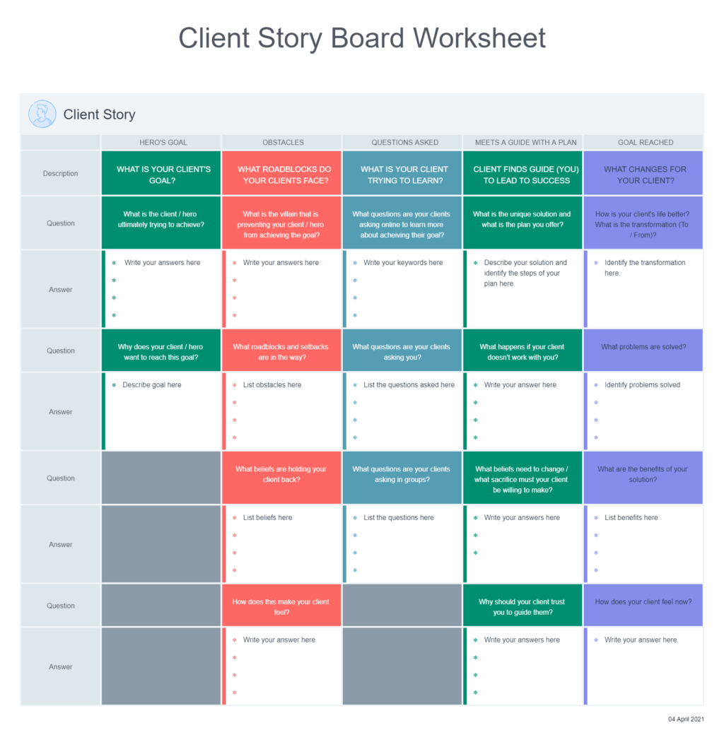 Client Story Board Worksheet