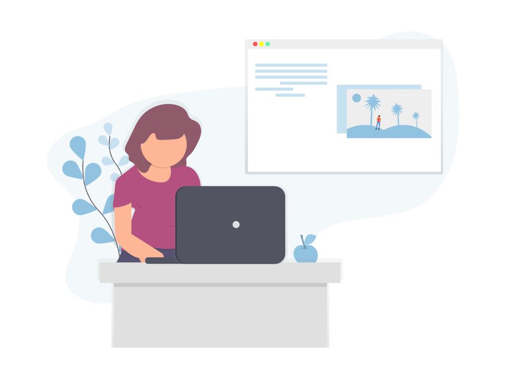 Girl at Desk Blogging