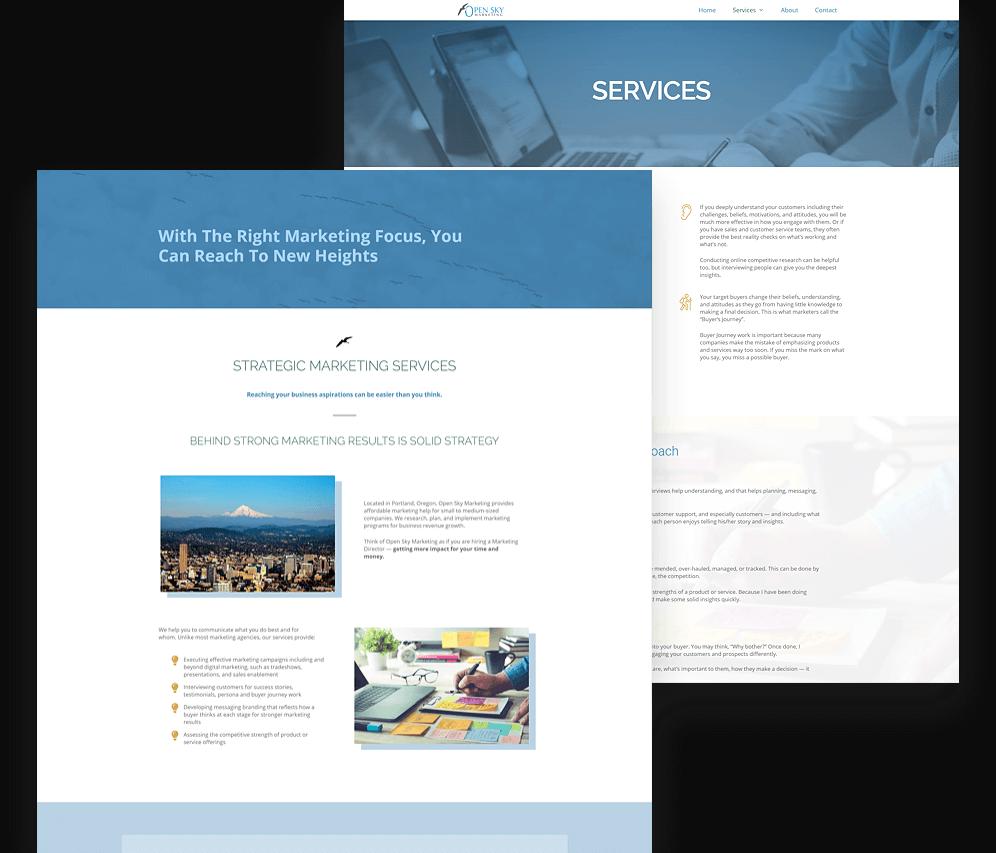 Open Sky Marketing Website Mockup