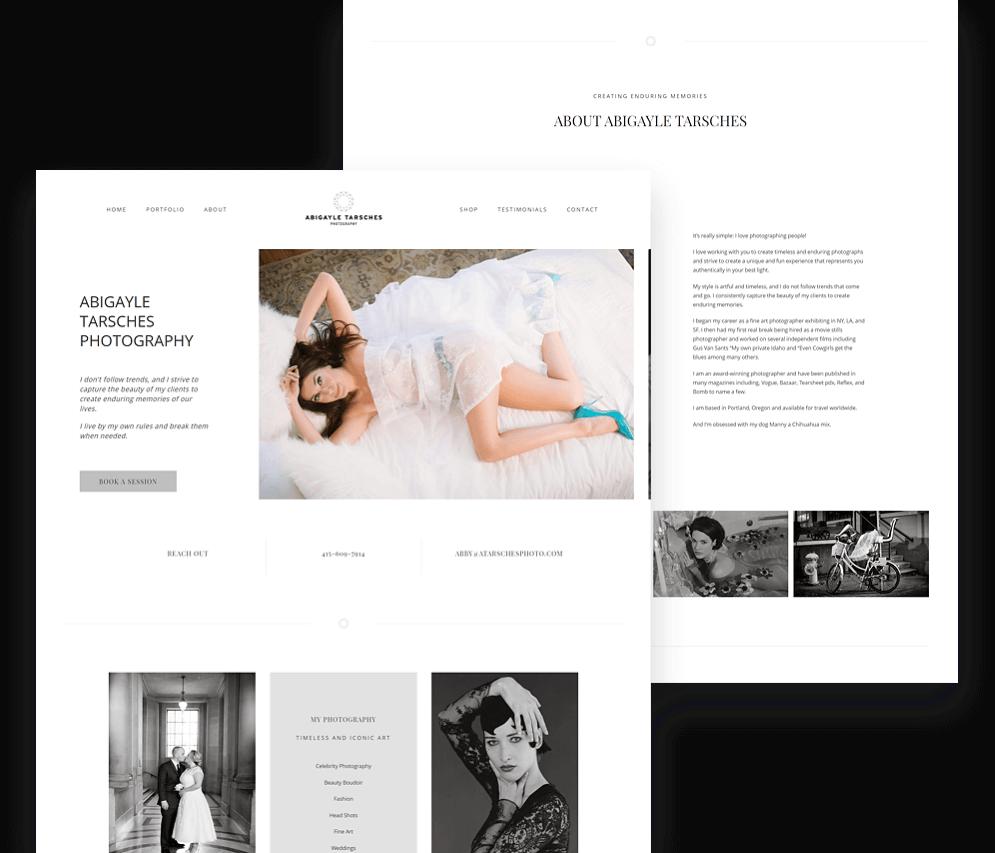 Abigayle Tarsches Photography Website Screenshots